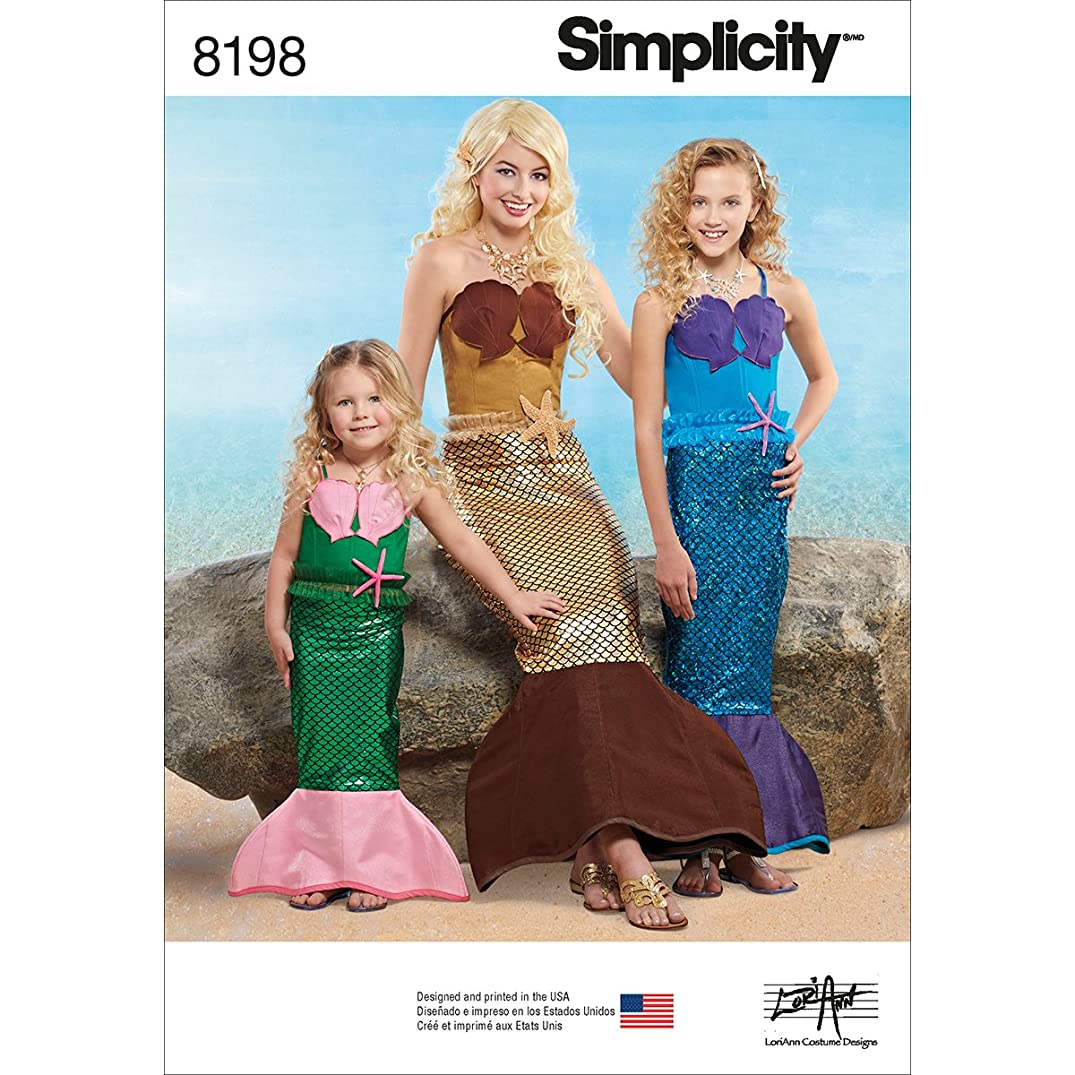 Simplicity 8198 Toddler's, Girl's and Women's Mermaid Costume Sewing Pattern, Sizes 2-4, 8-12, and 10-16