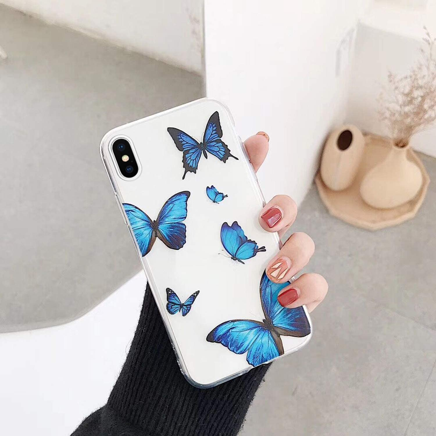 Amazon.com: Case for iPhone Xs Max,Clear Butterfly Embossed Art ...