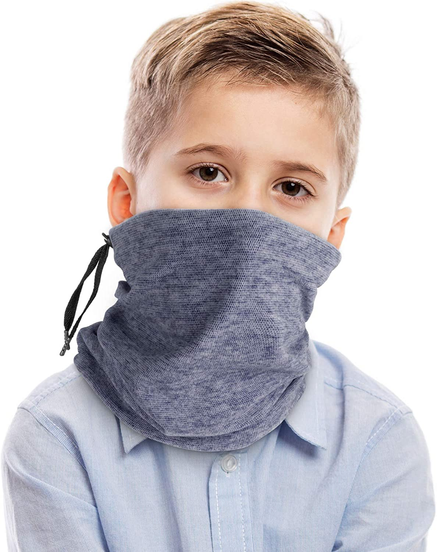 VULKIT Kids Neck Gaiter with Drawstring Adjustable Warmer Face Cover Bandanas Outdoor Headwear, Winter Scarves for Children