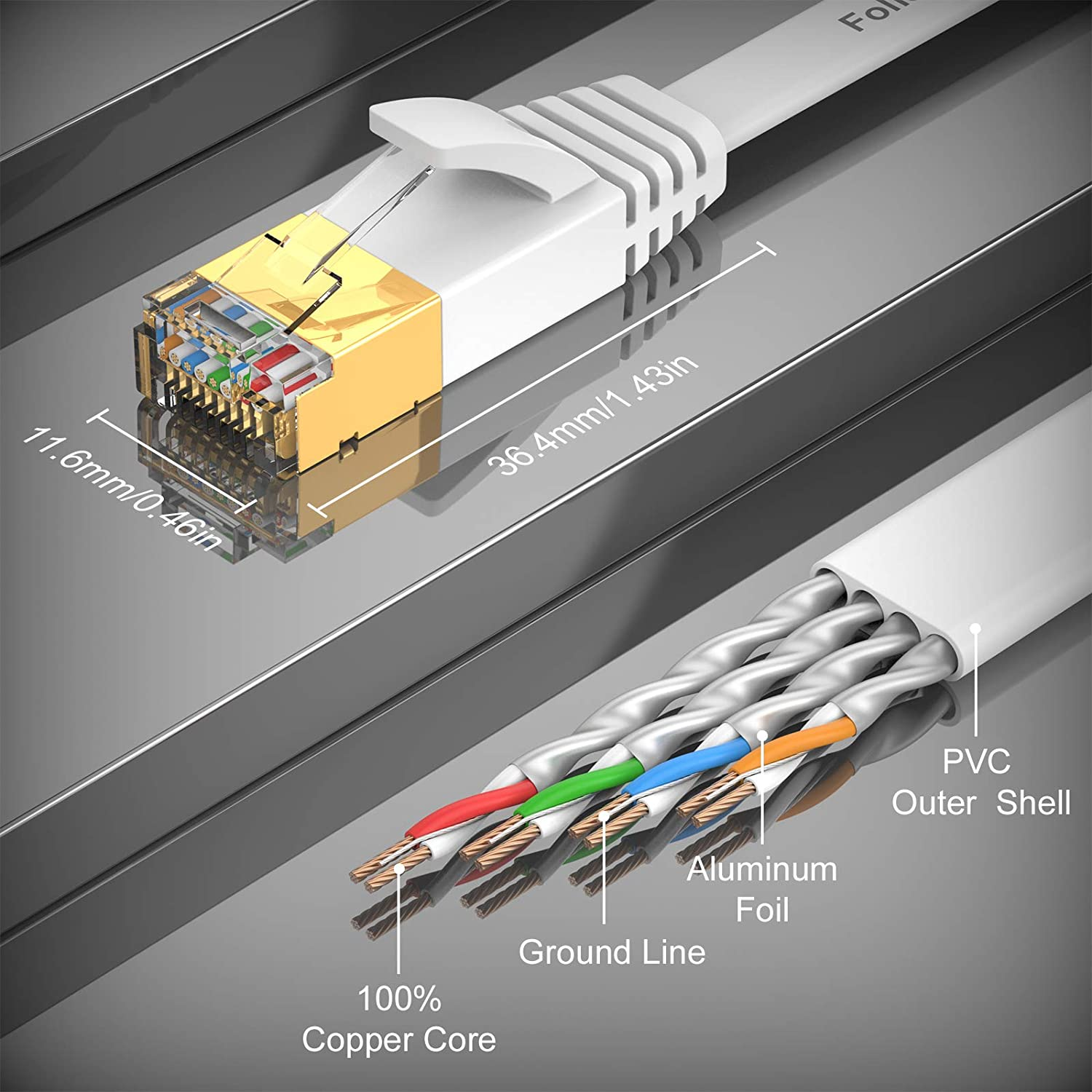 Shielded Flat Long Gigabit Patch Cord LAN Wire for Modem Router Cat 7 Ethernet Cable 30 ft Switch,Compatible with Cat6e//Cat 5e//Cat 5- White High Speed Internet Network Cable with RJ45 Connector