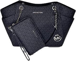 MICHAEL Michael Kors Jet Set Travel Large Chain Shoulder Tote bundled with Large Flat MF Phone Case Wallet Wristlet (Signature MK Black)