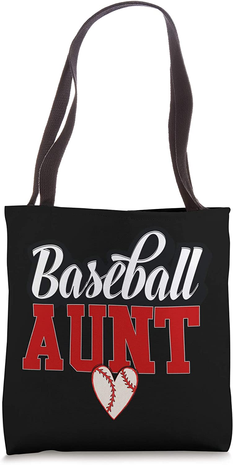 Baseball Aunt Best Auntie and Biggest Fan Valentines Gift Tote Bag