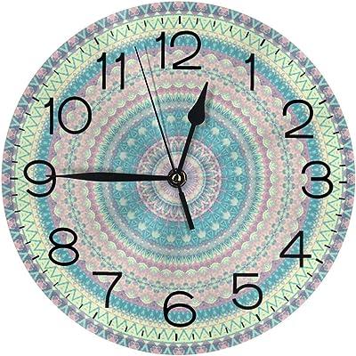 インテリア 掛け時計 青い 曼荼羅 まんだら 壁掛け時計 丸い 飾る時計 連続秒針 サイレント ウォールクロック デジタル コンパクト ウォールクロック 部屋 客室 教室 部屋装飾 贈り物 新築 開業