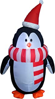 BZB Goods 4 Foot Tall Lighted Christmas Inflatable Cute Penguin with Scarf LED Lights Outdoor Indoor Holiday Decorations B...