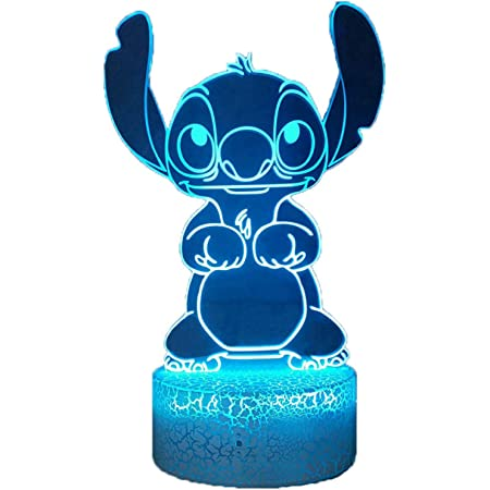 Belle Stitch 3D LED veilleuse, Lilo & Stitch 16 couleurs lampe de table de bureau pour filles, lampe de nuit à distance pour chambre de bébé, cadeau d'anniversaire pour enfants de Noël