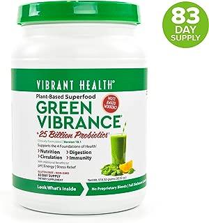 Vibrant Health, Green Vibrance, Plant-Based Superfood Powder, 25 Billion Probiotics Per Scoop, Vegetarian and Gluten Free, 83 Servings (FFP)