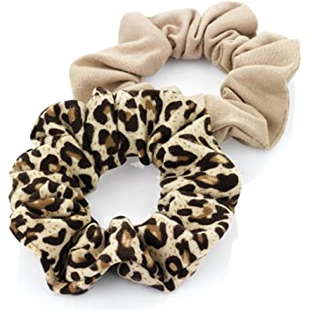 Two Piece Elasticated Jersey Scrunchie Hair Accessory Set Black /& Cream 3cm