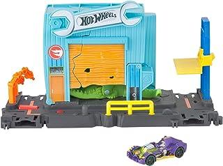 Hot Wheels Ataque en el taller del cocodrilo, pista de coches de juguete (Mattel FNB06)