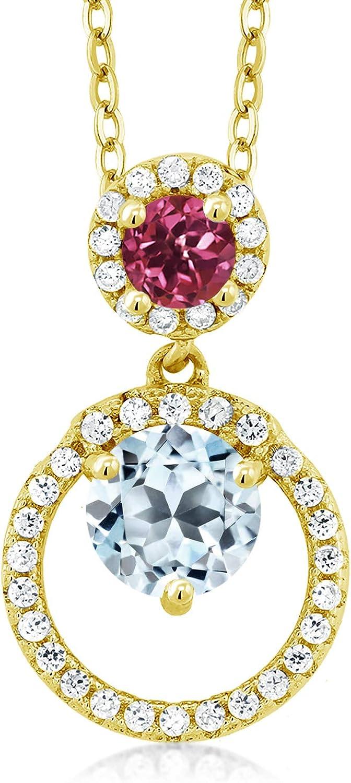 Gem NEW before selling Stone King 1.85 Ct Sky Yellow Blue 100% quality warranty! Topaz 18K Pink Tourmaline