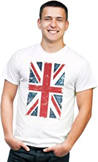 Vintage Union Jack UK Britain British Flag Graphic Printed T-Shirt Tee
