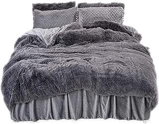LIFEREVO Luxury Plush Shaggy Duvet Cover Set (1 Faux Fur Duvet Cover + 2 Pompoms Fringe Pillow Shams) Solid, Zipper Closure (King, Dark Gray)
