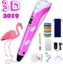 Sunfuny 3D Pen, 3D Printing Doodler Pen with LCD Screen and 150 Feet 15 Color 1.75mm PLA Filament Refill, Holiday Gift for Kids Adult, Stepless Speed, Pink