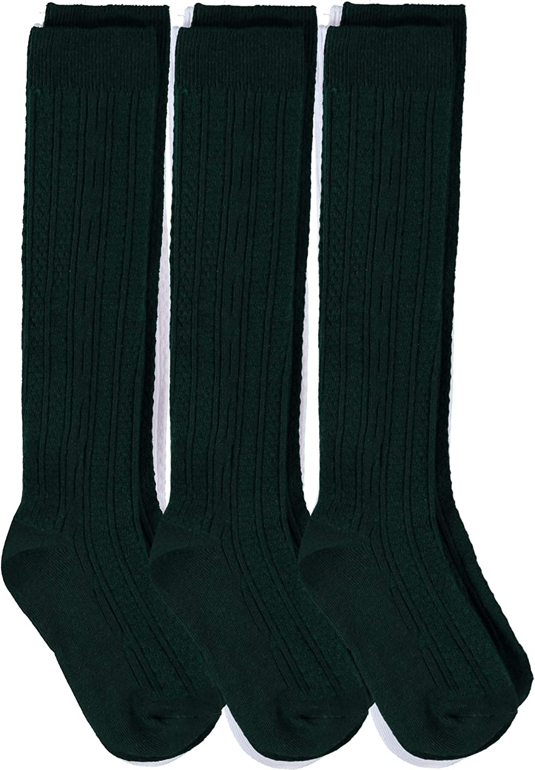 Piccolo Girls' Cable-Knit Knee-High Sock Three-Pack