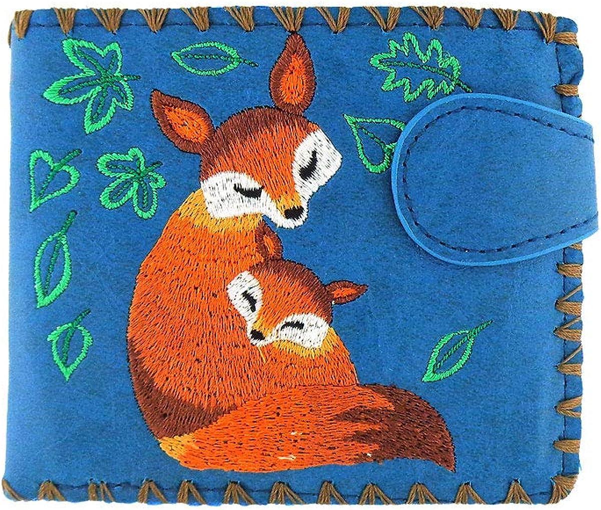 LAVISHY Embroidered Mama Fox & Baby Vegan/Faux Leather Bifold Medium Wallet