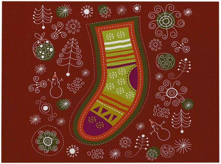 FaCaiTao Manteles Individuales,6pcs Nuevo Red 2021 Tela de Tela Pad Cojín de Navidad Occidental-8_32 * 42 (poliéster)