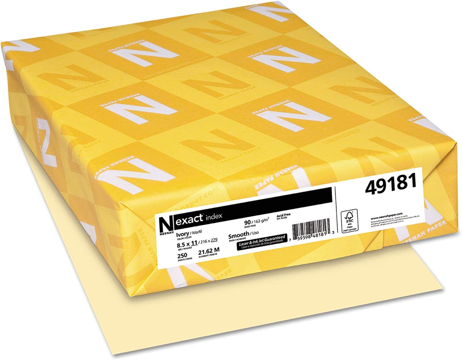 Neenah Paper Exact Index Card Stock 90 x Ivory specialty shop Popular brand in the world 2 lbs 8-1 11