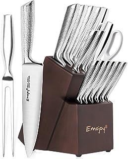 Emojoy Couteaux de Cuisine Professionnels, Ensemble de Couteaux 16 Pièces Tout Acier Inoxydable, Set Couteaux Cuisine avec...