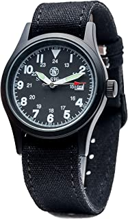 Men's Military Watch with 3ATM/Japanese Movement/Date Display/3 Interchangeable Canvas Straps/Case and Face, 38mm, Black