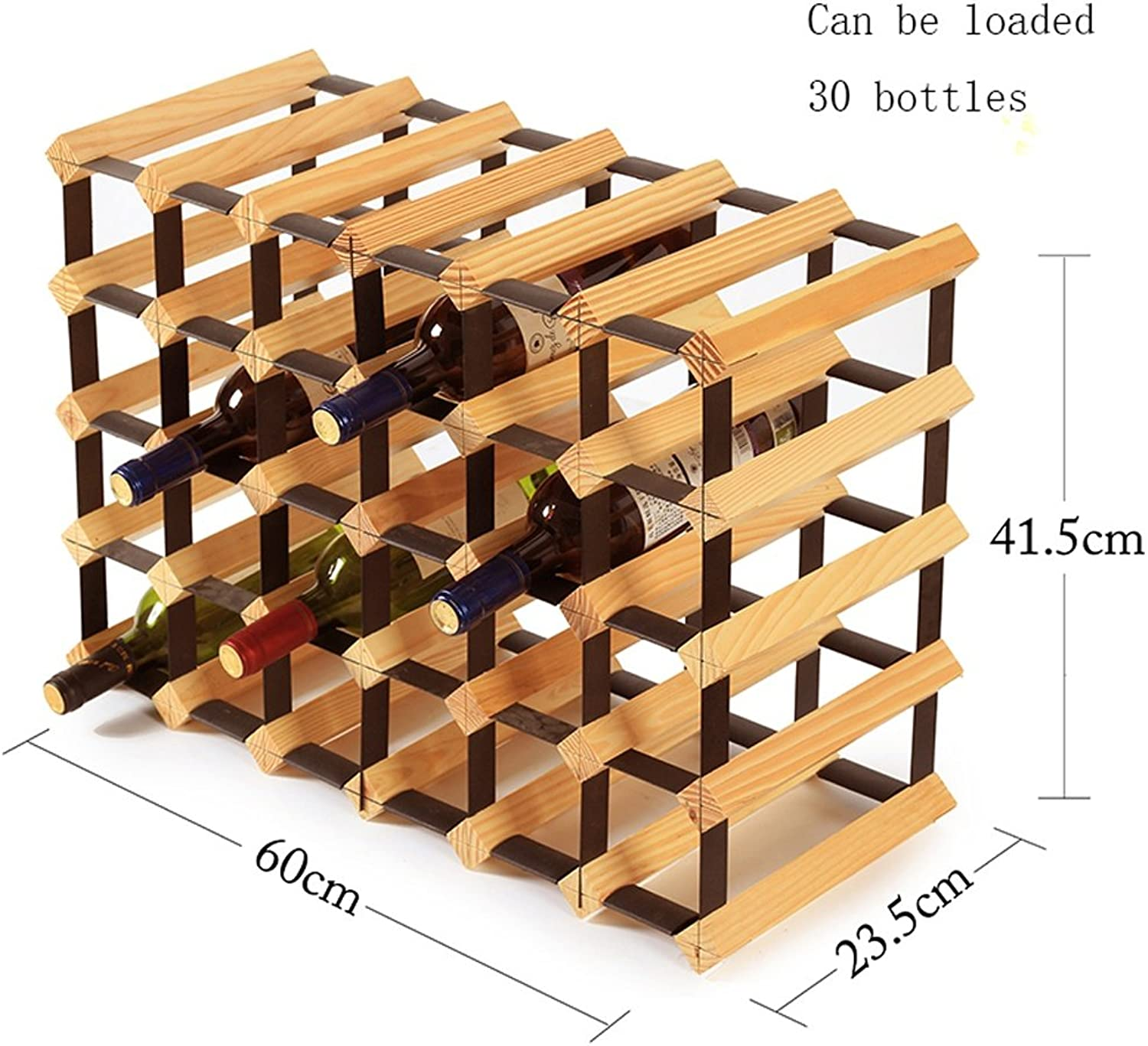 ALUA- Wine Rack Durable Convenient and Fast Red Wine Decoration Storage Holder Display Shelves Solid Wood Household Living Room Restaurant Wine Cabinet Wood color (Size   60  23.5  41.5cm)