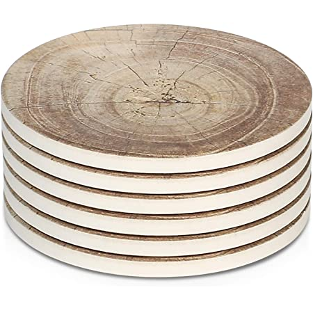 LIFVER Absorbent Drink Coasters with Holder for Home Decor Housewarming Gift Idea Set of 6 Ceramic Coasters with Cork Base 4 inch White Texture Patterns Stone Coasters for Wooden Table