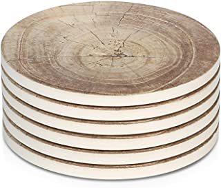 LIFVER Coasters for Drinks Absorbent, 6 Pieces Ceramic Stone Coaster Set, Coasters for Wooden Table with Cork Base,Timber ...