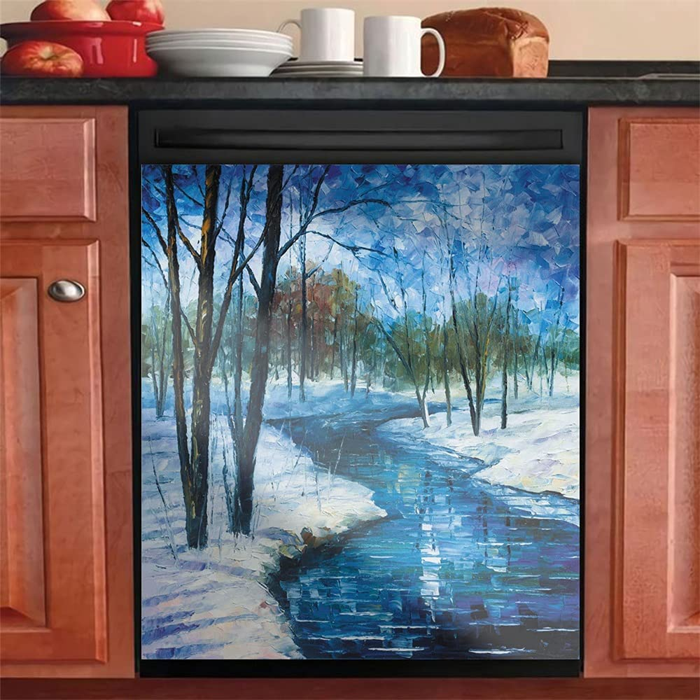Winter View of Frozen Stream Door Painting Cover Home Don't miss the campaign Dishwasher Max 83% OFF