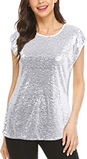 d6920670311 Women Sequin Tops Glitter Shimmer Tunic Loose Bat Sleeve Sparkle T-Shirt  Blouses Cocktail Party