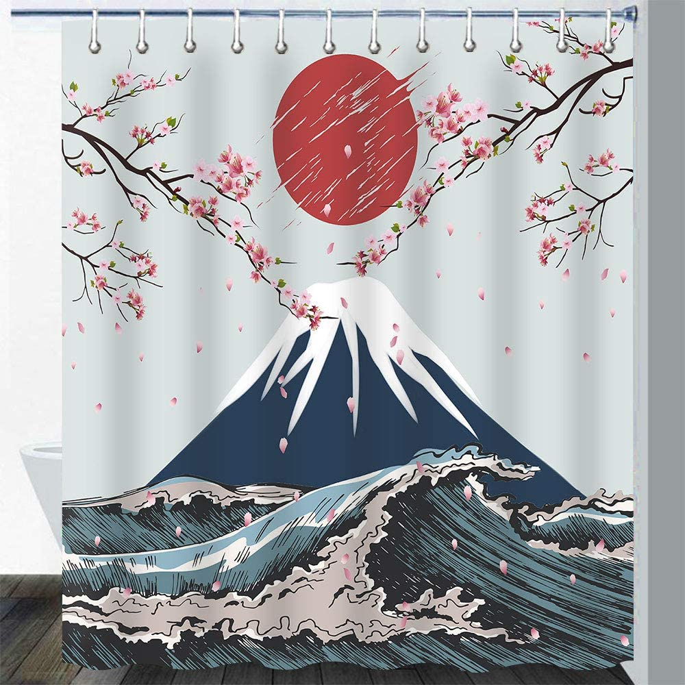 Gdmoon Don't miss the campaign Mount Fuji Shower Curtain Many popular brands Kanagawa Che Waves Japanese Ink