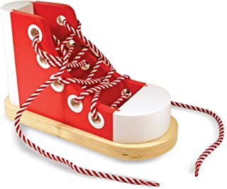 Melissa & Doug Deluxe Wood Lacing Sneaker (Learn to Tie a Shoe Educational Toy, Encourages Independence, Great Gift for Girls and Boys - Best for 3, 4, 5, and 6 Year Olds)