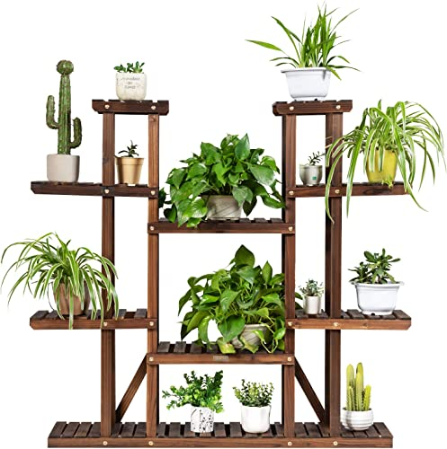 2021 Giantex Wood lowest Plant new arrival Stand, 6 Tier Multiple Flower Pot Holder Display Shelf for Home Patio Garden, Outdoor Indoor Higher and Lower Plant Display Rack (6 Tiers Accommodate for 11-17 Flowerpots) outlet online sale