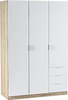 comprar comparacion Habitdesign LC1323F - Armario ropero de Tres Puertas y Tres cajones, Medidas 121 cm (Largo) x 180 cm (Alto) x 52 cm (Fondo...