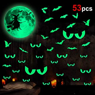 Konsait 53pcs Halloween Glow in The Dark Stickers Luminous Witch Moon Bats Peeping Eyes Wall Stickers Window Ceiling Wall Decals for Nursery Baby Kids Bedroom Halloween Bedroom Party Gift