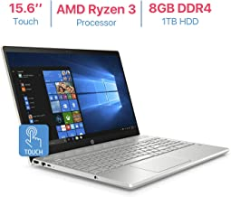 HP Pavilion 15.6'' Touchscreen HD WLED-Backlit Display Laptop, AMD Ryzen 3 2200U 2.5GHz Processor, AMD Radeon Vega 3 Graphics, 8GB DDR4 RAM, 1TB HDD, HDMI, Bluetooth, B & O Play, Windows 10 - Gold