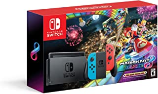 Nintendo Switch With Neon Blue And Neon Joy‑Con Hac 001 W Mario Kart 8 Deluxe red