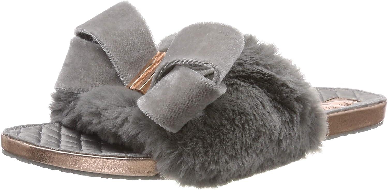 Ted Baker Women's Blings Faux Fur Slip On Slipper Light Grey