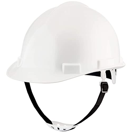 NoCry Heavy Duty Hard Hat - Construction Safety Helmet with Adjustable 4-Point Suspension System, 2-Inch Brim. White