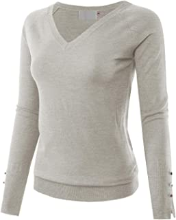 MAYSIX APPAREL Womens Long Sleeve V-Neck/Crew Neck/Turtle Neck Knit Pullover Sweater for Women (S-L)