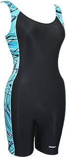 Adoretex Women's New Direction Piping Unitard Swimsuit (FU006) - Black/Teal - Medium