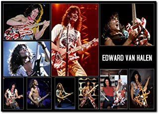 Wall decor Eddie Van Halen Poster 13x19 Inches | Ready to Frame for Office, Living Room, Dorm | Very Rare Collage Print