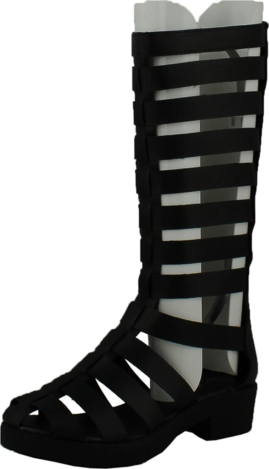 Forever Kendal 2 Womens Strappy Cut Out Platform Bootie Sandals Patent Black
