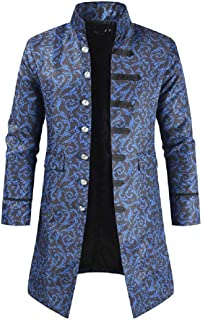 Howely Mens Single Breasted Halloween Steampunk Printed Trench Coat Jacket