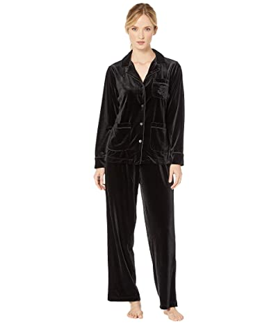 LAUREN Ralph Lauren Velvet Long Sleeve Notch Collar Three-Pocket Long Pants Pajama Set (Black) Women