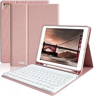 COO iPad 9.7 キーボード ケース Apple pencil 収納 ペンシルホルダー付き ワイヤレス Bluetooth キーボード 脱着式 手帳型 オートスリープ機能 多角度調整 日本語説明書付着 対応iPad 9.7インチ(第5/...