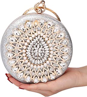 FengheYQ Women's Luxury Glossy Diamond Banquet Clutch Dress Pearl Round Evening Bag Chain Shoulder Messenger Bag Size: 16 * 6 * 16cm (Color : Silver)