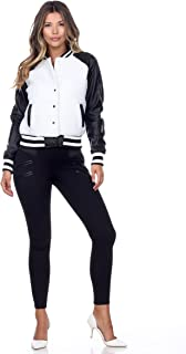 Women's Soft Vegan Faux Leather Fuzzy Snap Front Ribbed Bomber Jacket