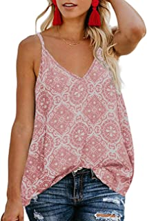 6b92b29ff TECREW Women's Boho Floral V Neck Spaghetti Straps Tank Top Summer  Sleeveless Shirts Blouse