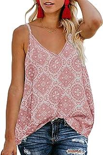 7af27e3b21 TECREW Women's Boho Floral V Neck Spaghetti Straps Tank Top Summer  Sleeveless Shirts Blouse