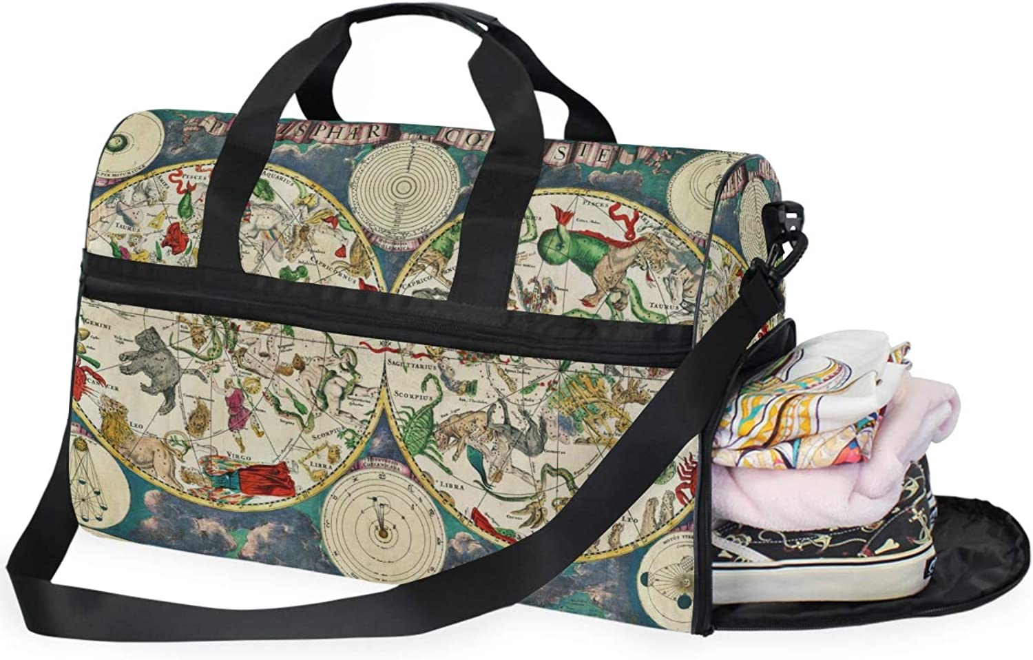 MONTOJ This 17Th Century Map of The Skies Bursting Wit Oversized Canvas Travel Tote Duffel Shoulder Overnight Weekend Bag