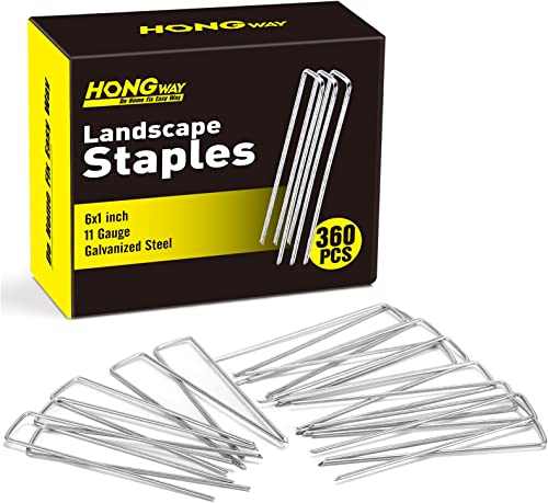 2021 HongWay 360 Pack Galvanized Landscape sale Staples Garden Stakes for Gardening 6 Inch 11 Gauge Heavy-Duty Fence Stakes Pins Anti-Rust Yard Stakes for Weed Barrier Fabric Rrigation Tubing lowest Soaker Hose sale