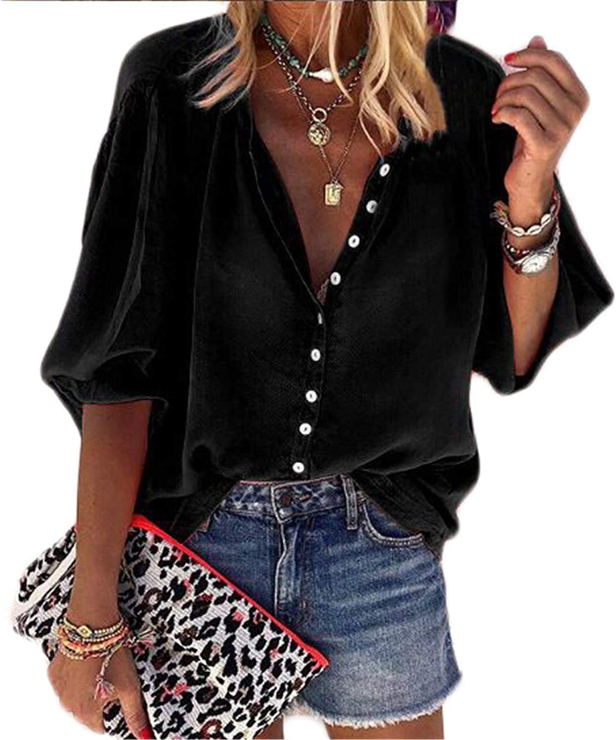 Andongnywell Blouses for Womens Casual V Neck Solid Color Womens Long Sleeve Button Down Tops Chiffon Shirts